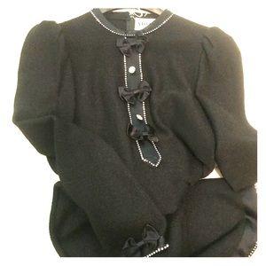 ADOLFO - vintage 8 lbd fancy black sweater dress